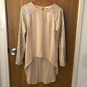 Sequin long sleeve, high low shirt